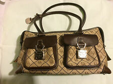 Dooney and Bourke Beige Signature Double Pocket Tote