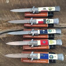 5 PC SET Assorted STATE STILETTO TACTICAL Spring Assisted Open Pocket Knife NEW!