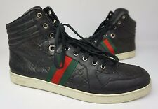 Gucci Coda Guccissima Hi High Top Sneakers Black Leather Shoes Size 12 G / 13 US