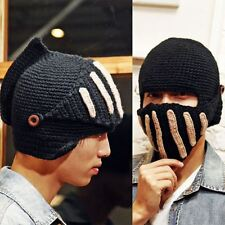 Cool Men Women Winter Visor Brim Beanie Hat Fleece Lined Warm Knit Skull Ski Cap