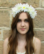 Large Ivory White Cream Daisy Flower Headband Hair Crown Garland Festival Z68