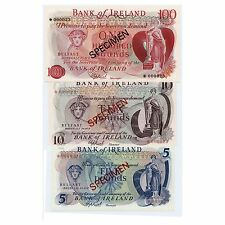 *jcr_m* IRELAND 5,10,100 POUNDS 1978 SPECIMEN P.CS1 *UNCIRCULATED*