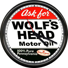 Wolf's Head Motor Oil Gas Retro Vintage Sign Wall Clock