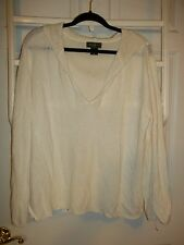 Nice! White Linen/Rayon Knit Hooded Sweater by Eddie Bauer 3X