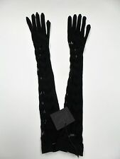 Long Black Nylon Stretchable Fashion Gloves