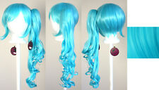 23'' Curly Pony Tail + Base Aqua Blue Green Cyan Cosplay Wig NEW