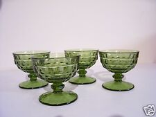 Vintage Green Whitehall Desserts bowls Glass Footed set of 4 (GG108)