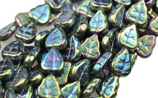 Amazing Selection of Assorted Czech Glass Leaf Beads 10MM Choose Your Color