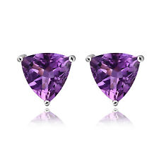 JewelryPalace Natural Amethyst Trillion Earring Stud 925 Sterling Silver Women
