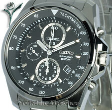 SEIKO CHARCOAL BLACK DIAL CHRONO with STAINLESS STEEL BRACELET SNDD63P1