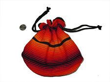 Guatemalan Drawstring BAG -  BG14 Cinch Pouch Stash Colorful Cloth Purse Fire