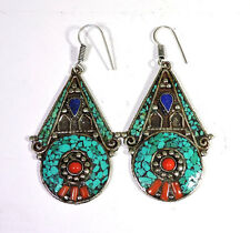 TURQUOISE&CORAL,LAPIS GEMSTONE .925 TIBETAN SILVER ANTIQUE JEWELRY EARRINGS SET