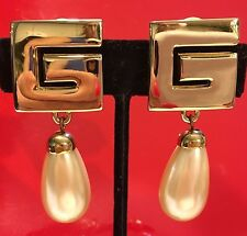 "Vintage Givenchy ""G"" Earrings Gold with Pearl Dangle Clip"