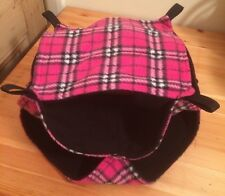New TRIPLE Decker Quilted Hammock For Rats+small Animals. Tartan + Black FLEECE