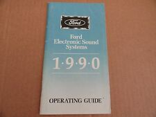1990 Ford Electronic Sound Systems Radio Stereo Owners Manual SUPPLEMENT