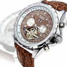 New JARAGAR Brown Day Date Men's Tourbillon Automatic Mechanical Wrist Watch