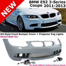 BMW E92 3-Series 11-13 NO PDC M3 Style Front Bumper Cover Clear Projector Fog