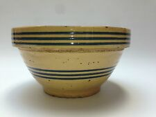 "8"" Antique Yelloware Bowl Blue Stripes (Yellowware, Yellow Ware) 1900-1930"
