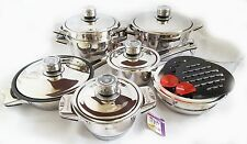 Luxury Pots High-quality Stainless Steel Cookware  Set 19 pcs Thermo heavy