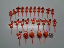 25 Vintage FALL HALLOWEEN PUMPKIN CATS Cake Toppers Picks Decorations CORSAGES