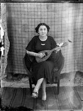 Old Photo.  Romania.  Woman with Mandolin
