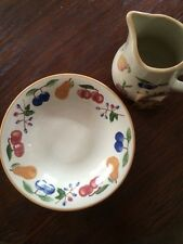 Longaberger Pottery Fruit Medley Pasta Serving Bowl and Matching Pitcher
