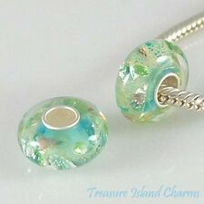 BLUE GREEN WITH FOIL MURANO GLASS .925 Sterling Silver EUROPEAN Bead Charm