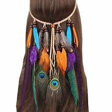 Fascinator Headband Feather Bohemian Tassels Headwear Headdress for Women Girls