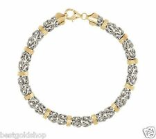 "7"" Domed Status Byzantine Bracelet Real 14K Yellow White Gold QVC J287941"