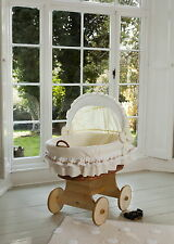 Wicker Crib Moses Basket Luna Uno Cream (Cot Bed) with Snuggle Pod MJMARK !!!