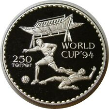 elf Mongolia 250 Tugrik 1994 Proof Silver   World Cup Soccer