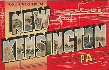 Greetings From New Kensington PA Large Letter Linen Postcard
