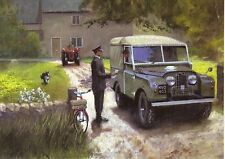 Land Rover series 1 landrover canvas  top postman bicycle at Farm  Greeting card