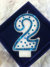 2nd Second Birthday (two) CANDLE Diamante Topper Blue Boy Party FREE POSTAGE