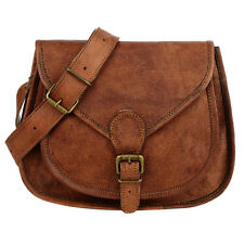 Fair Trade Handmade Curved Brown Leather Saddle Bag