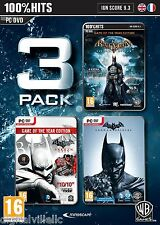Batman Triple Pack PC Arkham Collection Origins Asylum and City NEW Vista/7/8