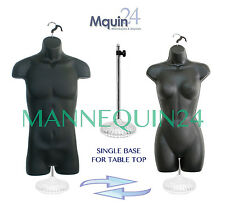 SET of 2 MANNEQUIN S +1 STAND +2 HANGERS BLACK HIP LONG BODY FORMS MALE & FEMALE