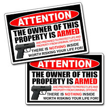 Owner Armed Warning Vinyl Decal Sticker 2nd Amendment Gun Firearm Pistol Permit