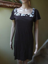 NWT Banana Republic Women XS Chocolate Brown White T-Shirt Neckline Cotton Dress