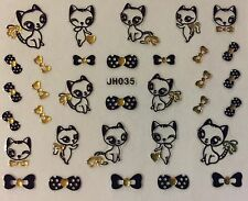 Nail Art 3D Decal Stickers Cat Kitten Bows Black & Gold JH035