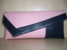 BABY PINK & NAVY BLUE  faux leather asymmetrical clutch bag, made in the UK