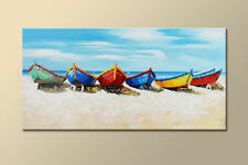 MODERN ABSTRACT LARGE WALL ART OIL PAINTING ON CANVAS:Boats  (No Frame)