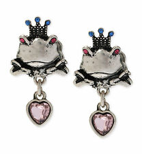 BETSEY JOHNSON BJ's Menagerie Prince Charming Frog Silver-Tone Stud Earrings
