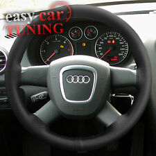 FOR AUDI A3 8P 2003-2013 BLACK REAL GENUINE LEATHER STEERING WHEEL COVER GLOVE