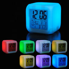 Multifunction 7 Colour LED Glowing LCD Cube Digital Alarm Clock Kid Children New