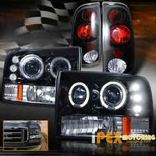 Shiny Black 99-04 Ford F250 Super-Duty Halo Projector LED Headlight + Tail Light