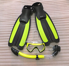 Open heel pro diving fins/snorkel/Mask combo(size 10-13 yellow)