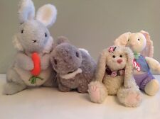 Vintage 1980's 1990's Stuffed Easter Bunny Toy Rabbits Lot 4 Ty Russ Chosun Gund