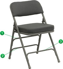 Lot of 20 Steel Frame Grey Padded Seat Folding Chairs