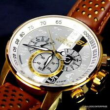 Mens Invicta S1 Rally Silver Dial 18kt Gold Plated Brown Leather Chronograph New
